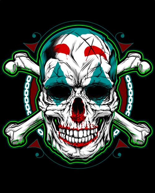 Иллюстрация (принт на футболку) Череп Джокер