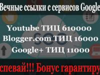 Вечные ссылки с сервисов google. Общий ТИЦ 637000