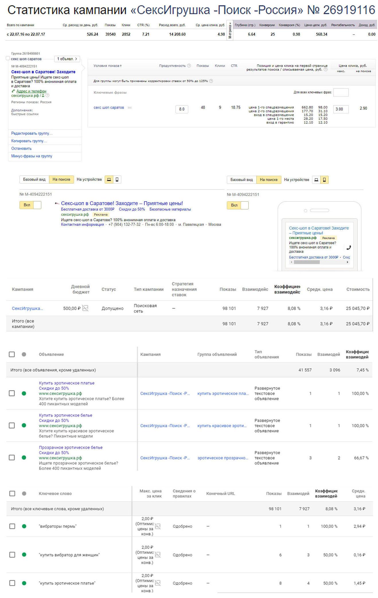 СексШоп - Интернет-магазин интимных товаров - Директ+Адвордс / СTR 7-8% / Лид до 568руб.