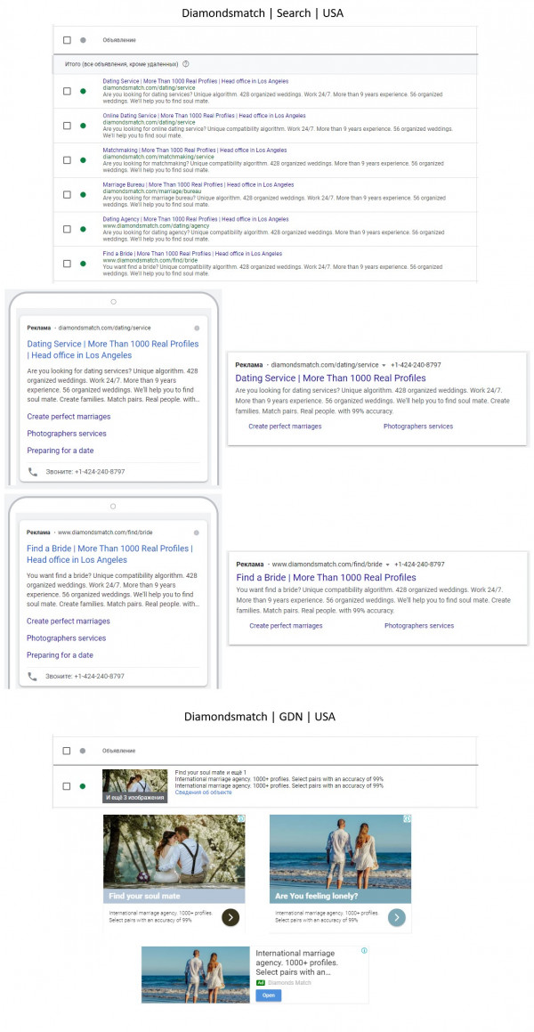 Международное агентство знакомств - Adwords / Англоязычный