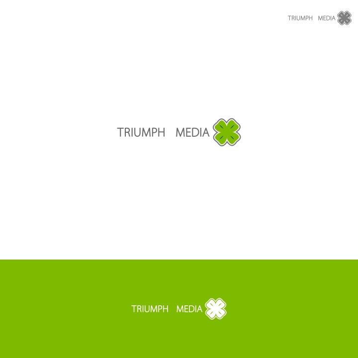 Разработка логотипа  TRIUMPH MEDIA с изображением клевера фото f_507000ae221c0.jpg