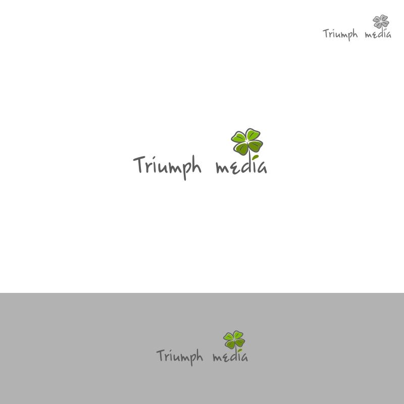 Разработка логотипа  TRIUMPH MEDIA с изображением клевера фото f_507019924ef60.jpg