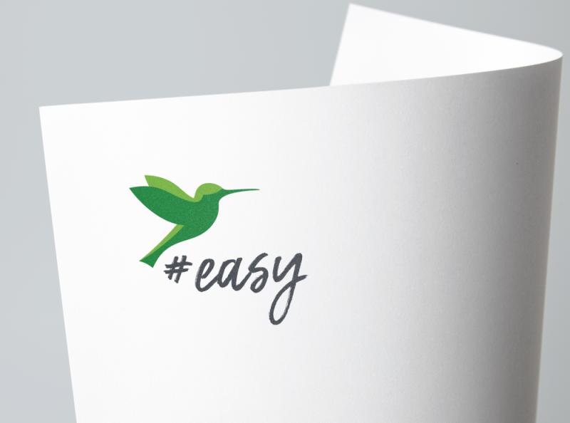 Разработка логотипа в виде хэштега #easy с зеленой колибри  фото f_8485d5418d574951.png