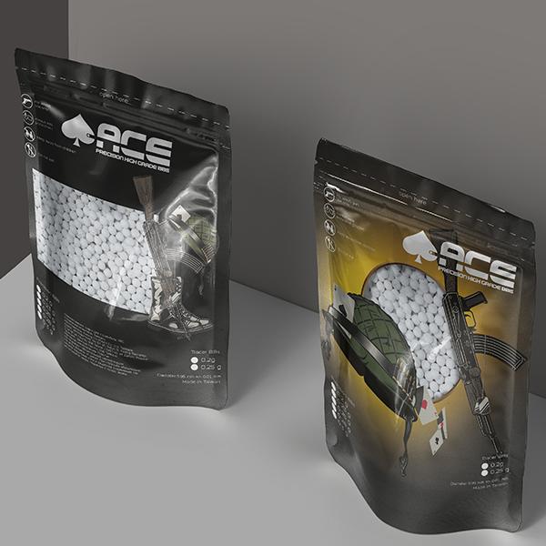 Дизайн упаковки + лого: страйкбольные шары ACE