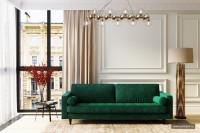 Гостиная с изумрудным диваном