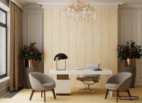 Кабинет с деревянными стеновыми панелями