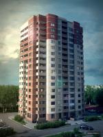 Вариант решения фасада жилого дома с визуализацией