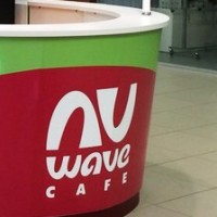 Nu Wave Cafe, логотип кофе-точки, фирмстиль, оформление точки