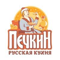 Печкин. Сеть кафе, русская кухня. Логотип и вывеска.