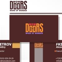 WowDoors, изготовление дверей, логотип, визитки и бланк. Логотип - финалист конкурса Золотая блоха 2017