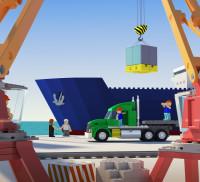 Сахалин порт календарь в стиле лего (3D) февраль
