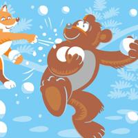 """Ланч-бокс для компании """"Новогодофф"""", звери и снежки."""