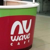 Ню Вейв Кафе, логотип, дизайн торговой точки и стакана. Логотип - финалист конкурса Золотая блоха 2017