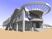 береговая постройка, перепланированная в кафе при архитектурном комплексе.