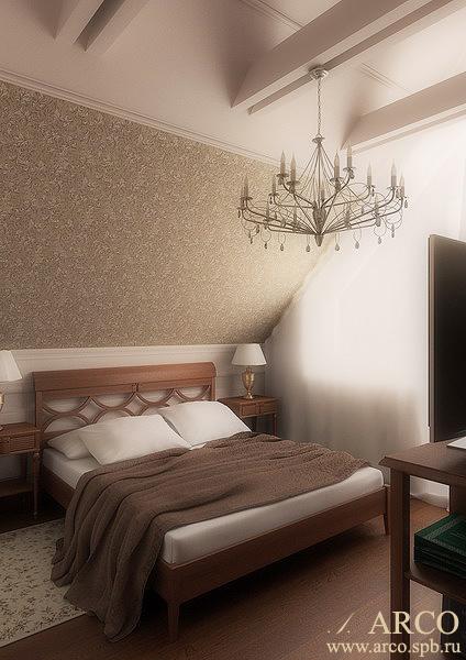 Дизайн гостевой спальни на мансарде.  Ульяна Ким ARCOdesign.