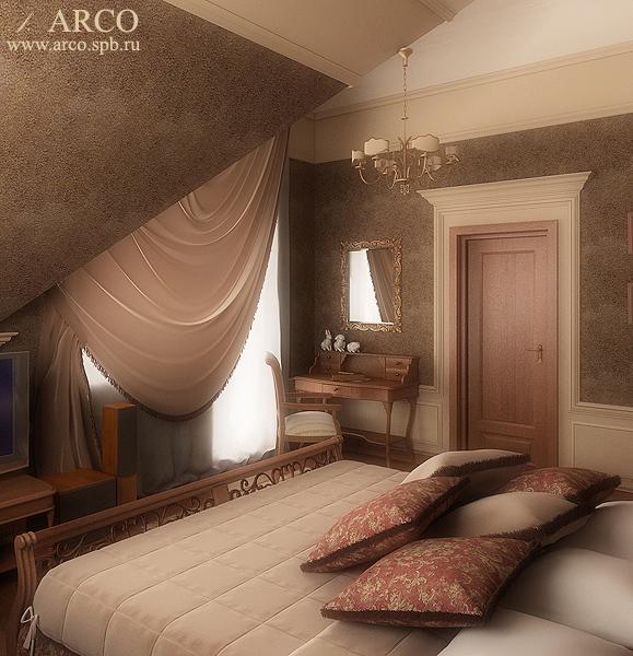 Дизайн спальни на мансардном этаже.  Ульяна Ким ARCOdesign.