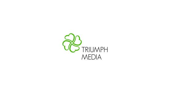 Разработка логотипа  TRIUMPH MEDIA с изображением клевера фото f_506f1964ee58f.jpg