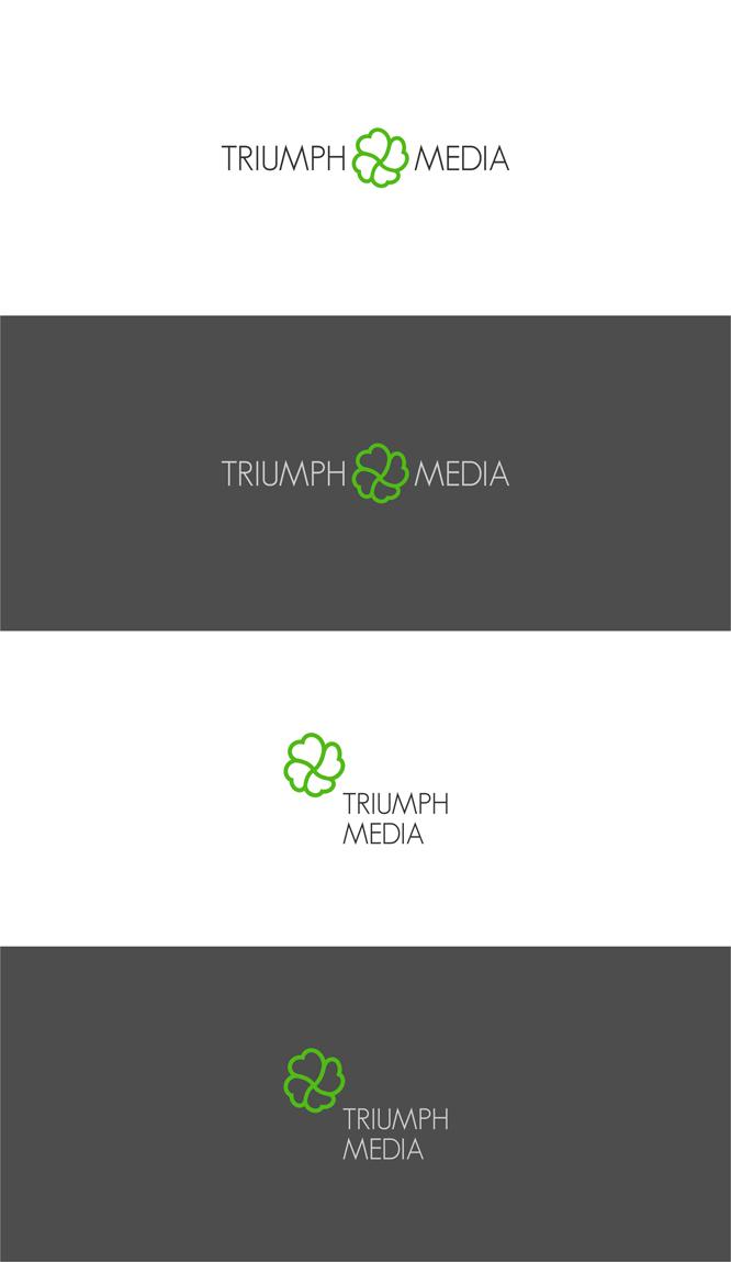 Разработка логотипа  TRIUMPH MEDIA с изображением клевера фото f_50702479d65ee.jpg