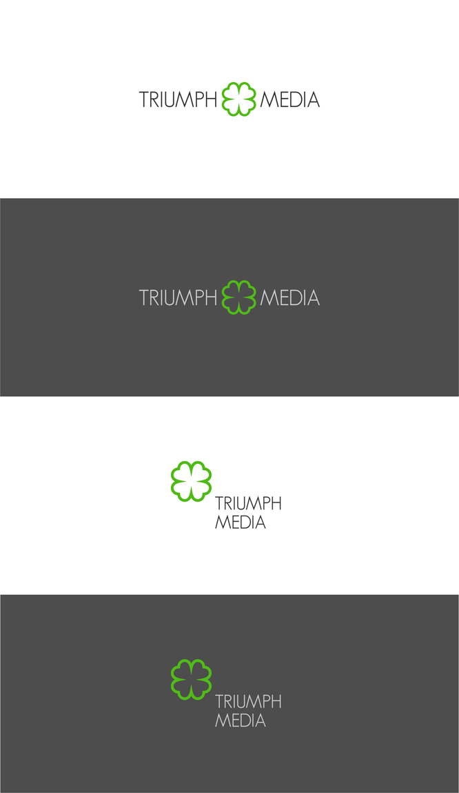 Разработка логотипа  TRIUMPH MEDIA с изображением клевера фото f_50703ddae4b9a.jpg