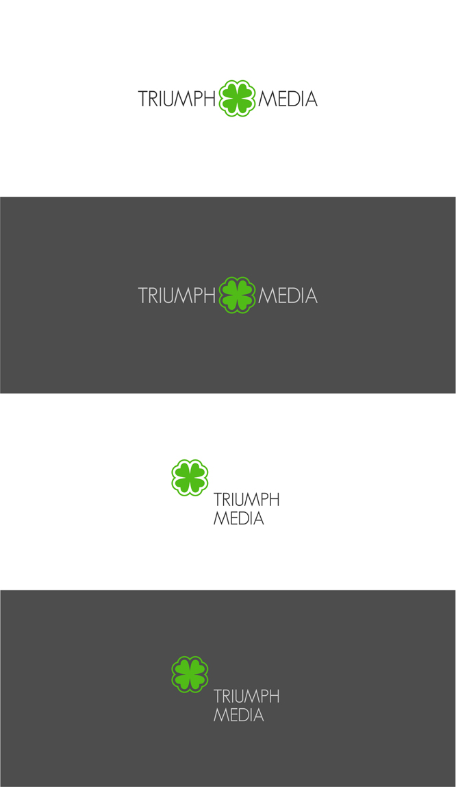 Разработка логотипа  TRIUMPH MEDIA с изображением клевера фото f_5070f859cc783.jpg