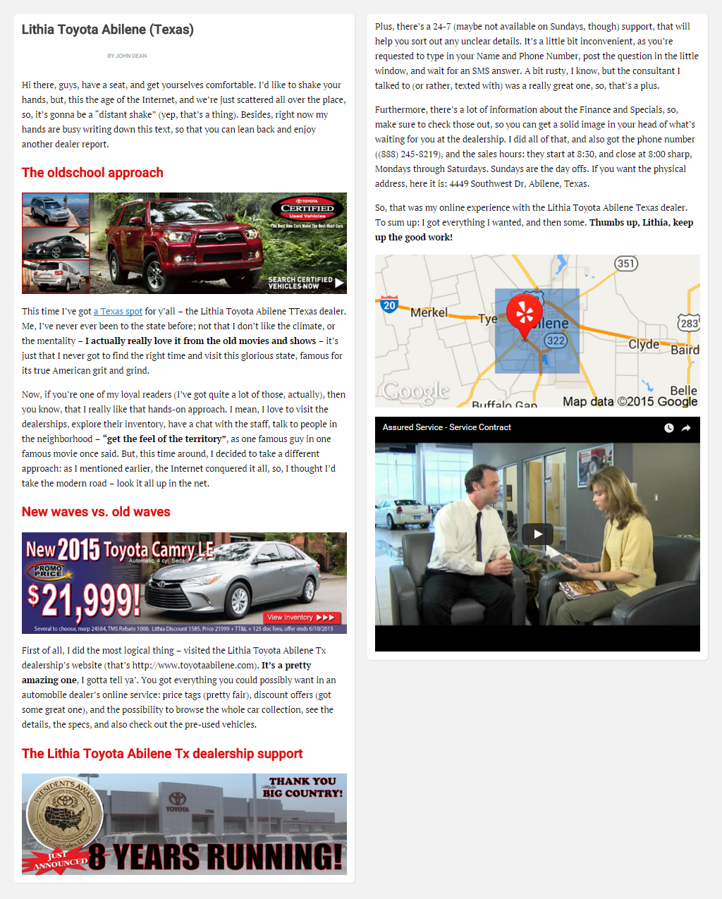 """Постинг статьи """"Lithia Toyota Abilene (Texas)"""""""