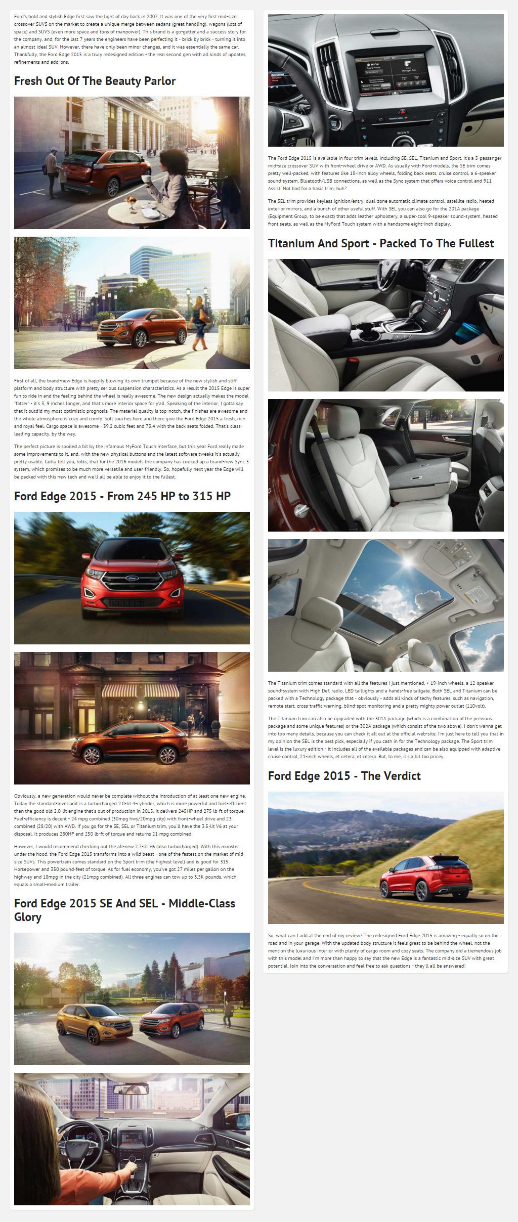 "Постинг статьи ""Ford Edge 2015"""