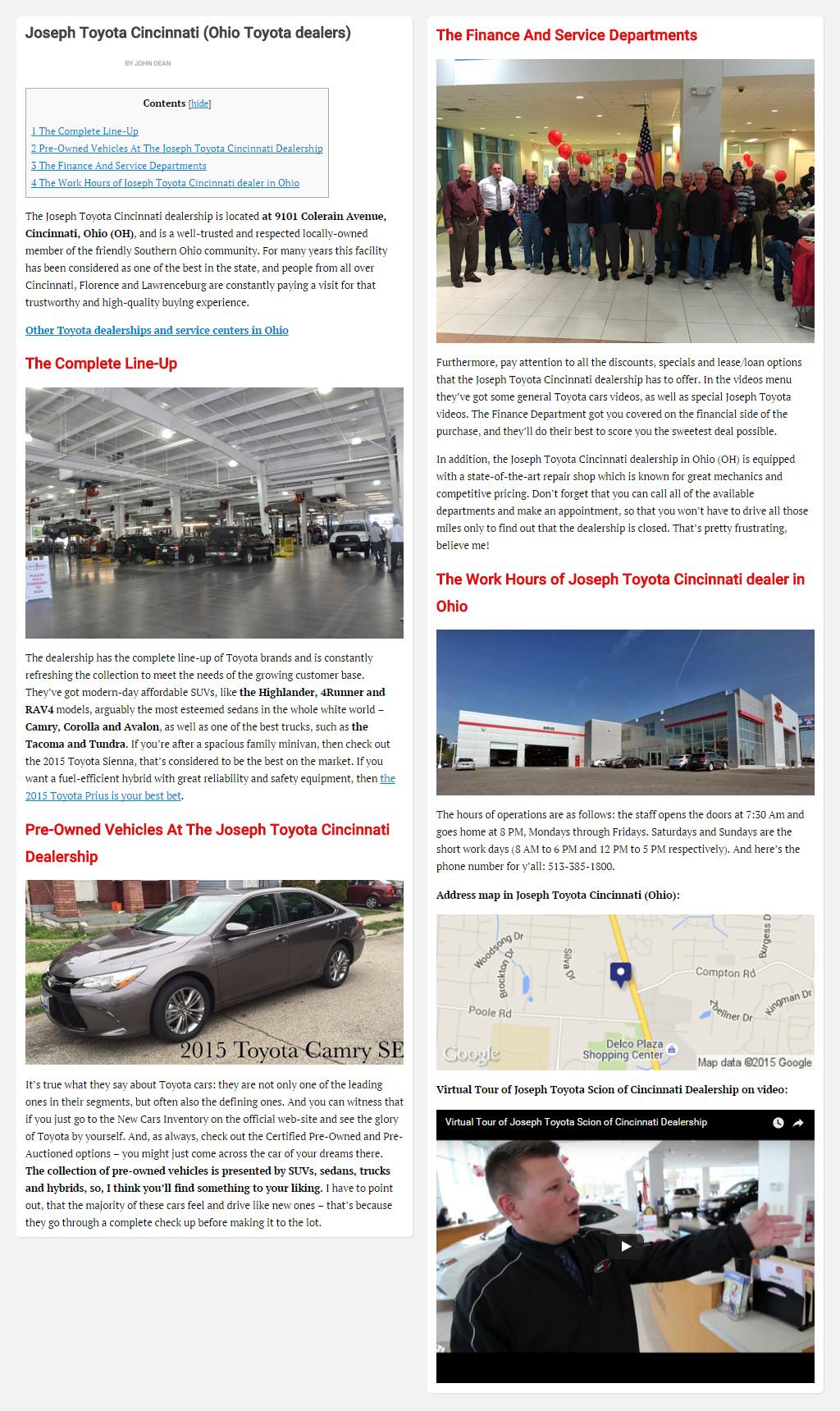 """Постинг статьи """"Joseph Toyota Cincinnati (Ohio Toyota dealers)"""""""