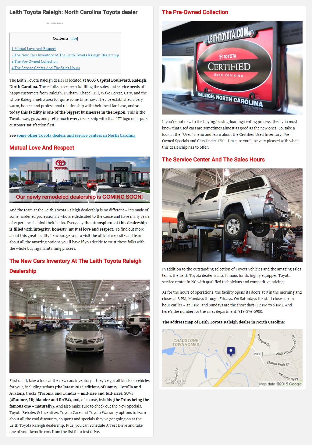 """Постинг статьи """"Leith Toyota Raleigh North Carolina Toyota dealer"""""""