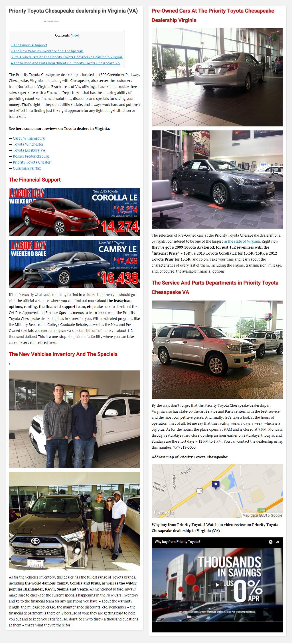 """Постинг статьи """"Priority Toyota Chesapeake dealership in Virginia (VA)"""""""