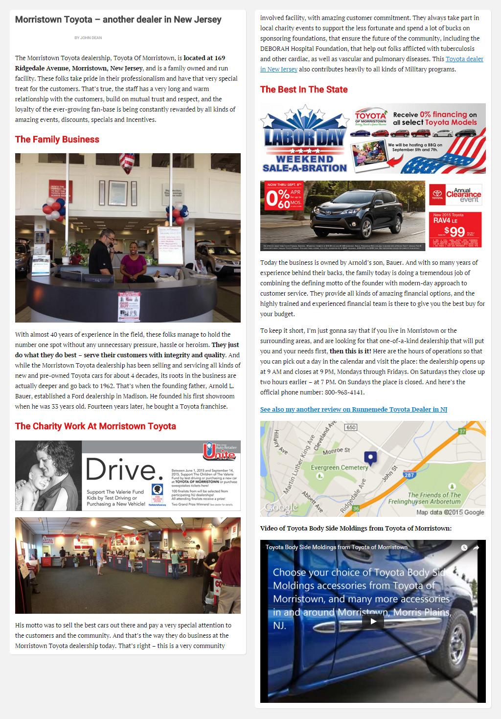 "Постинг статьи ""Morristown Toyota – another dealer in New Jersey"""
