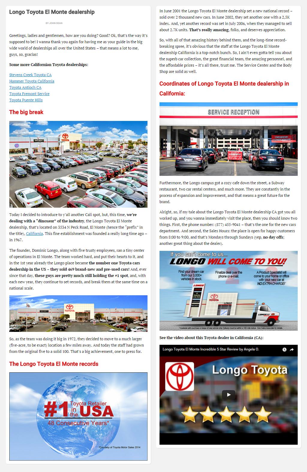 """Постинг статьи """"Longo Toyota El Monte dealership"""""""