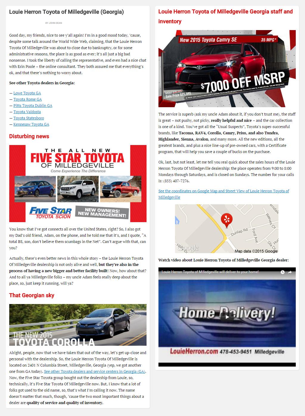 """Постинг статьи """"Louie Herron Toyota of Milledgeville (Georgia)"""""""