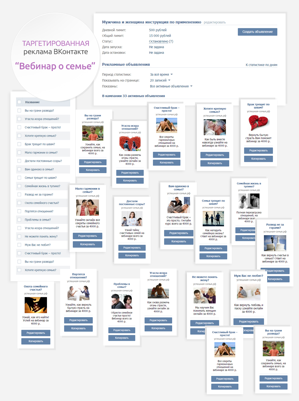 Таргетированная реклама в ВКонтакте Вебинар о семье