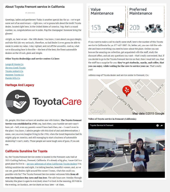 """Постинг статьи """"About Toyota Fremont service in California"""""""