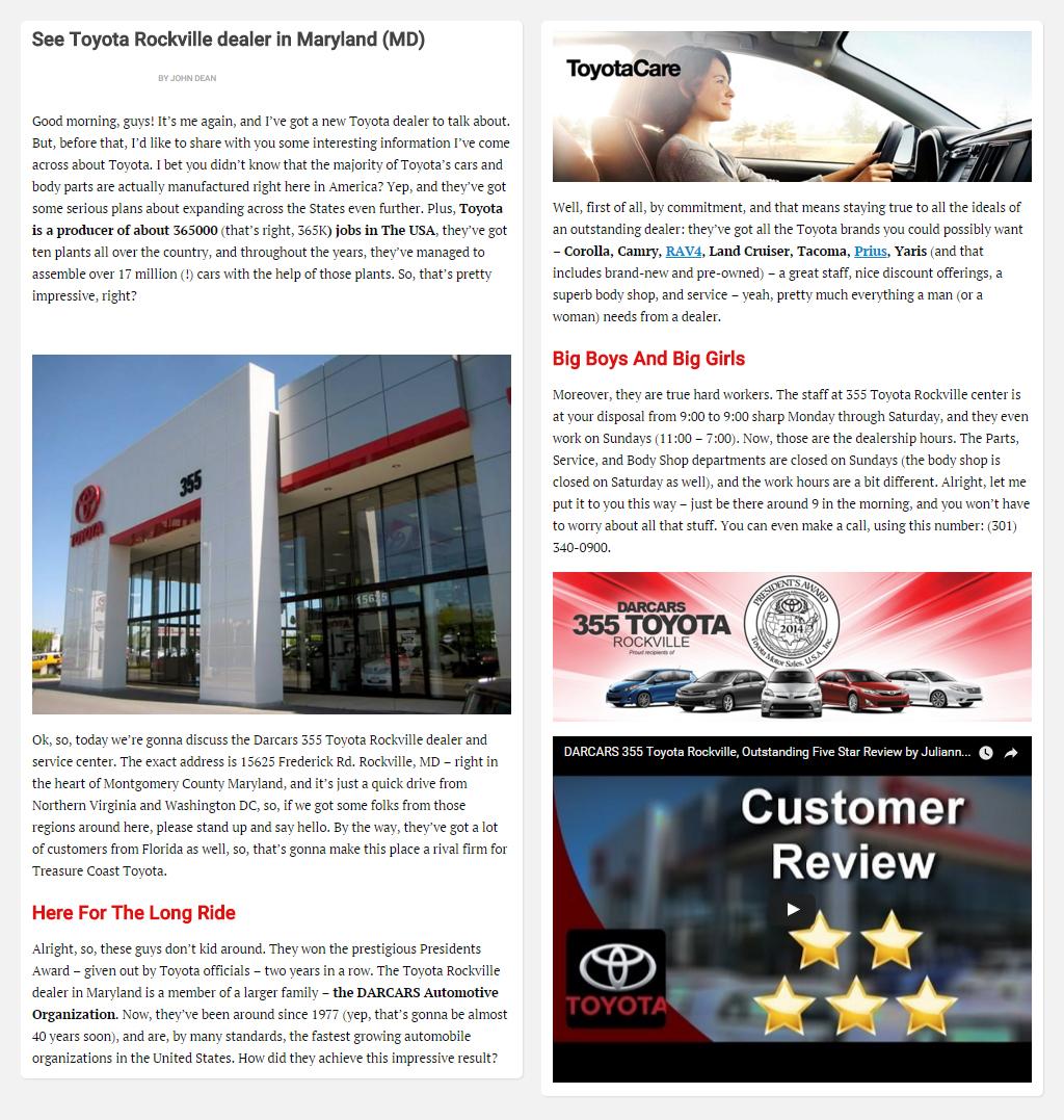 "Постинг статьи ""See Toyota Rockville dealer in Maryland (MD)"""