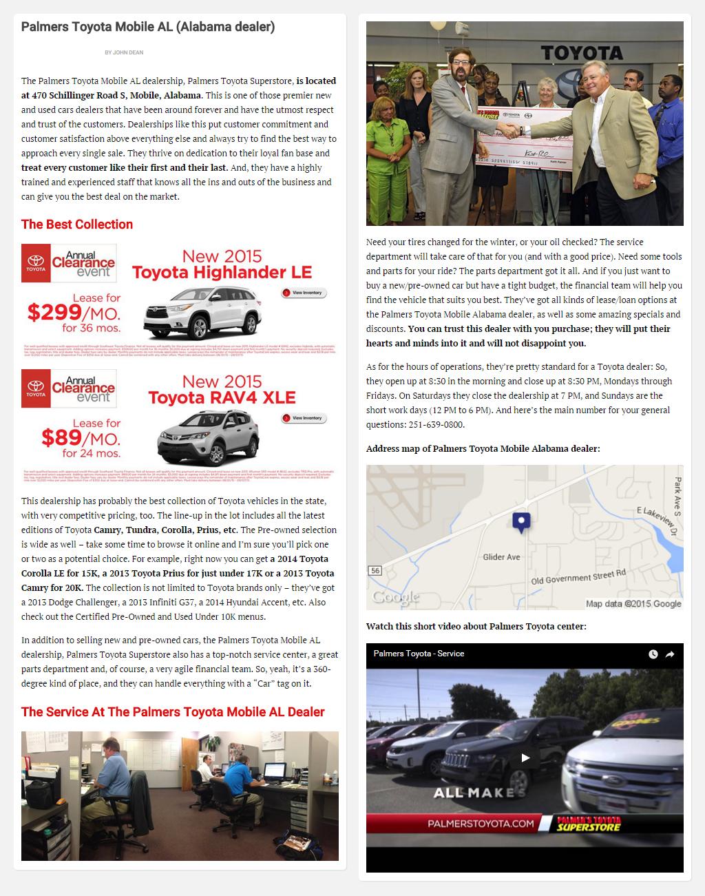 """Постинг статьи """"Palmers Toyota Mobile AL (Alabama dealer)"""""""