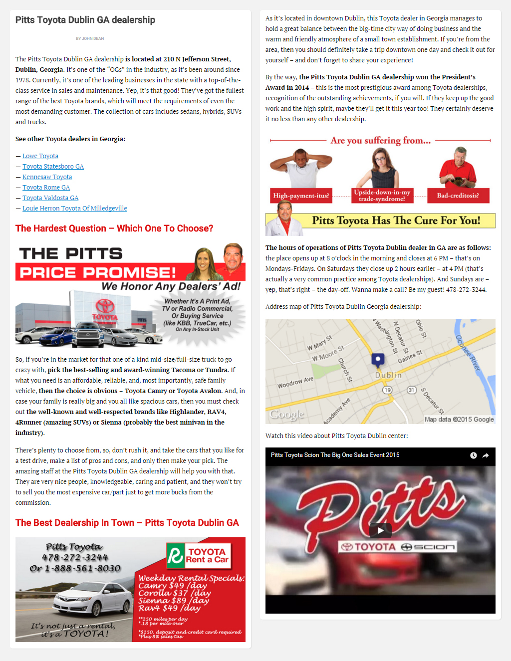 "Постинг статьи ""Pitts Toyota Dublin GA dealership"""