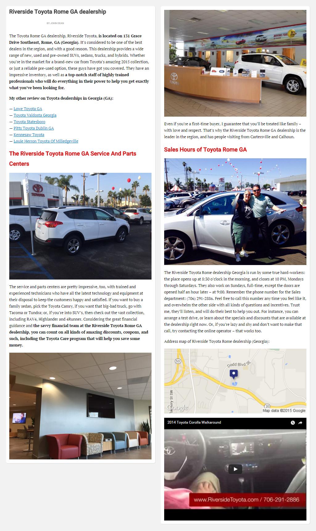 """Постинг статьи """"Riverside Toyota Rome GA dealership"""""""
