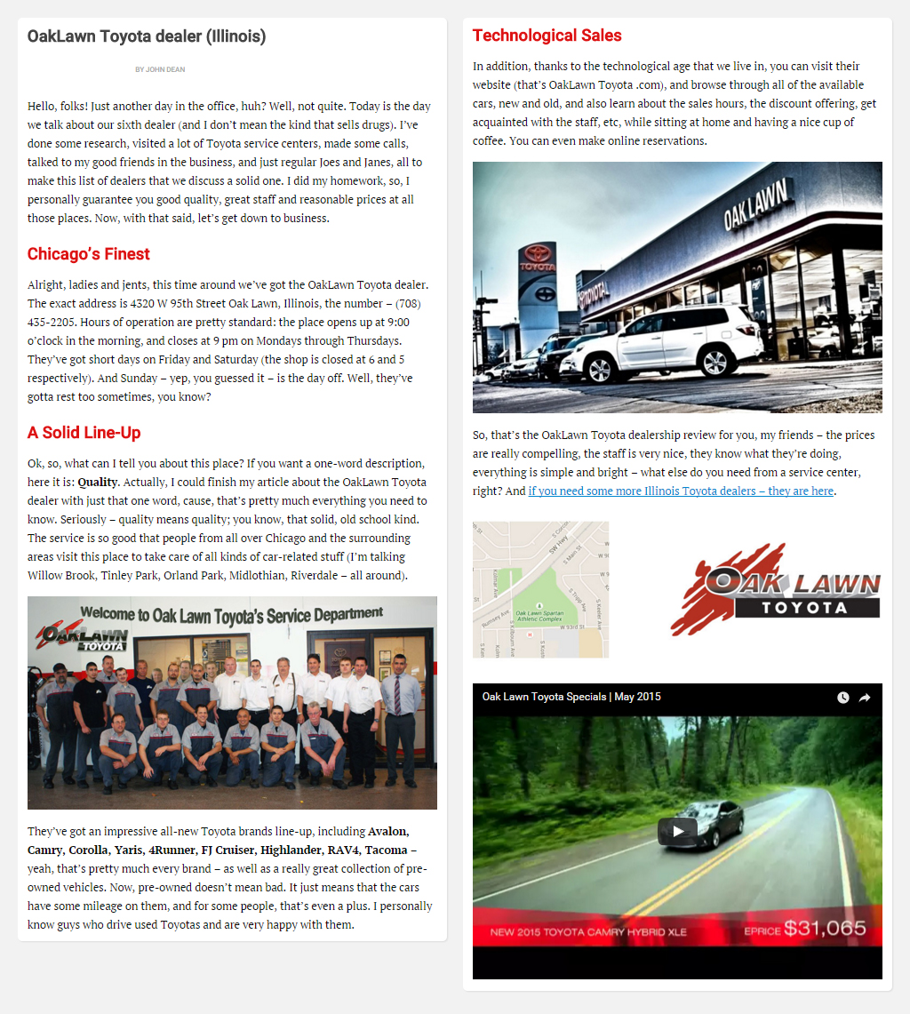 "Постинг статьи ""OakLawn Toyota dealer (Illinois)"""
