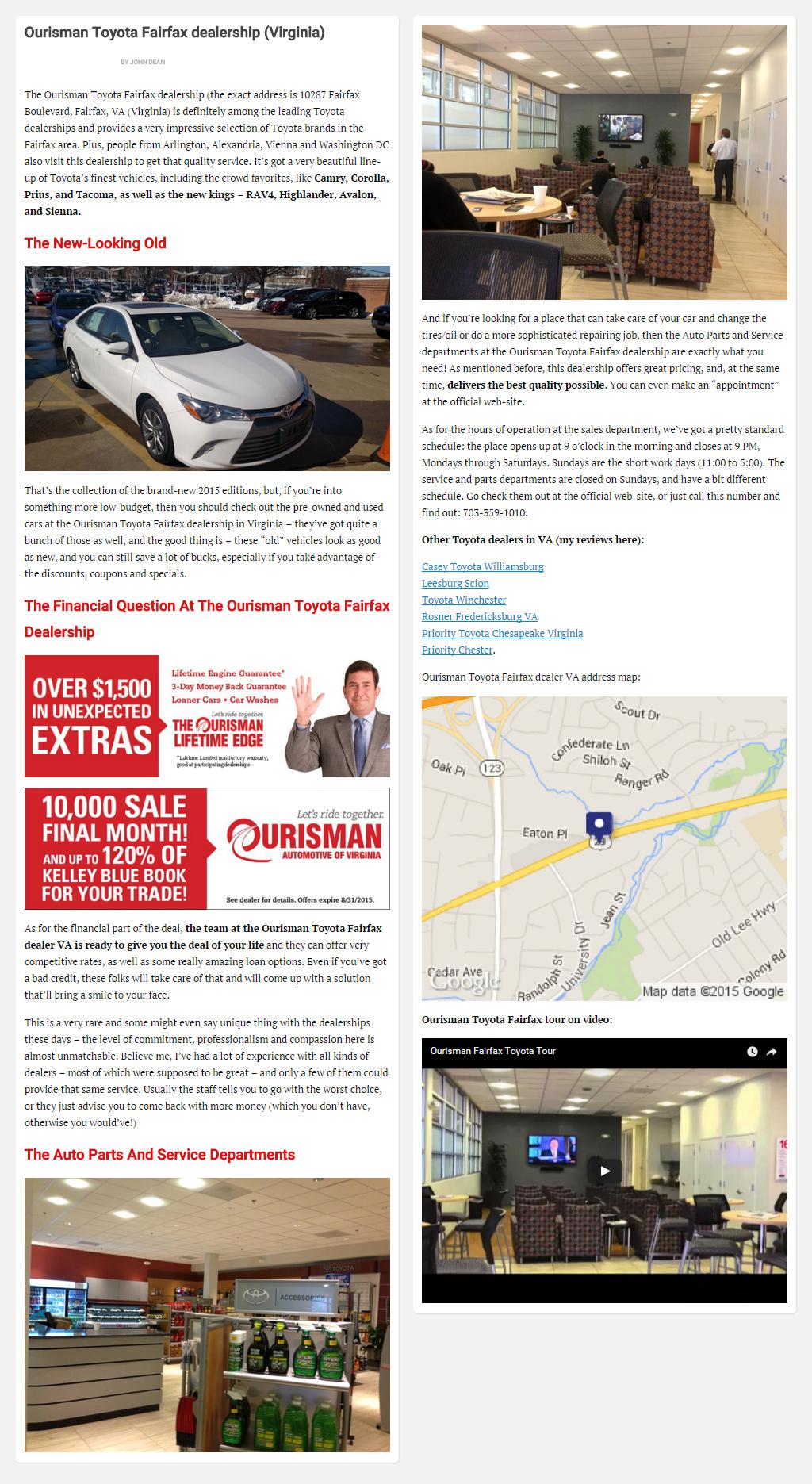 """Постинг статьи """"Ourisman Toyota Fairfax dealership (Virginia)"""""""