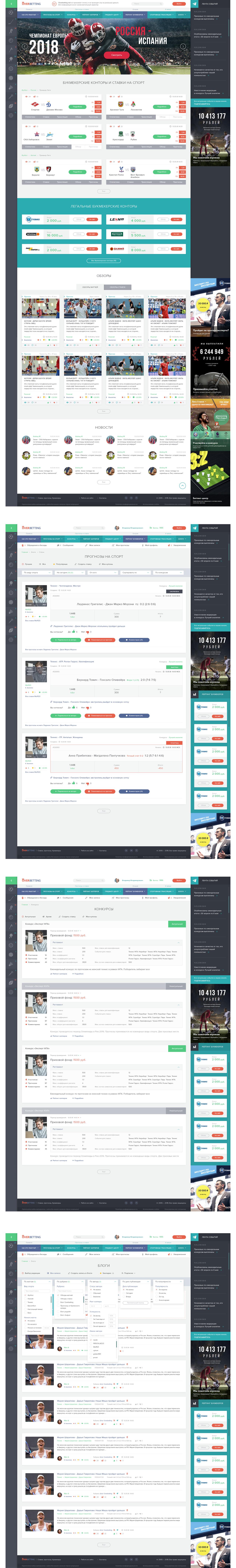 Адаптивный дизайн сайта-каталога букмекерских контор и ставок на спорт Overbetting