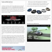 "Постинг статьи ""Toyota certified used cars"""