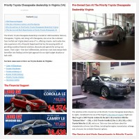 "Постинг статьи ""Priority Toyota Chesapeake dealership in Virginia (VA)"""