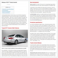 "Постинг статьи ""Release of 2017 Toyota Avensis"""