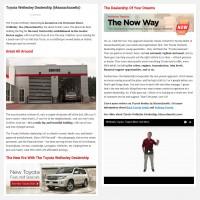 """Постинг статьи """"Toyota Wellesley Dealership (Massachusetts)"""""""