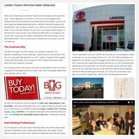 """Постинг статьи """"Landers Toyota Little Rock dealer (Arkansas)"""""""