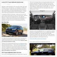 """Постинг статьи """"Look at 2015 Toyota Highlander Hybrid review"""""""