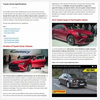 "Постинг статьи ""Toyota Camry Specifications"""