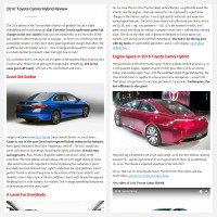 """Постинг статьи """"2016 Toyota Camry Hybrid Review"""""""