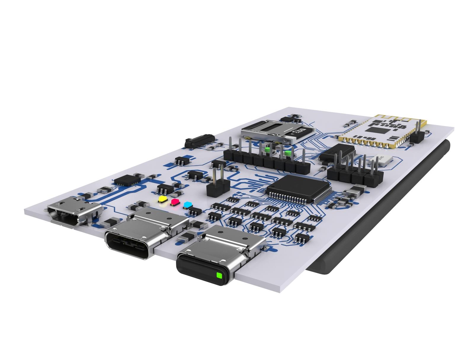 3d модель PCB для презентации c USB Type C